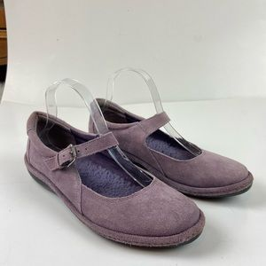 Lands End Suede Mary Jane Fleece Lined Flat Shoes